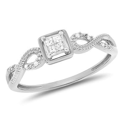 8a2766d797 0.11 Carat (ctw) 10k Gold Princess Cut & Round Diamond Infinity Ladies  Engagement Promise
