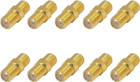 vergoldete Ausf/ührung 10 St/ück SAT F-Verbinder Buchse//Buchse