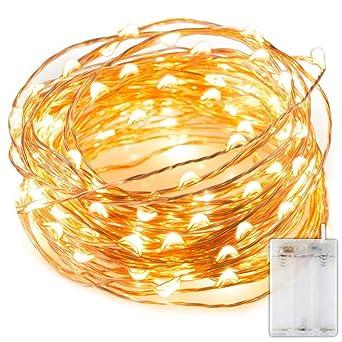 Cadena Luces LED,luz de navidad alambre de cobre impermeable,blanco cálido,guirnalda