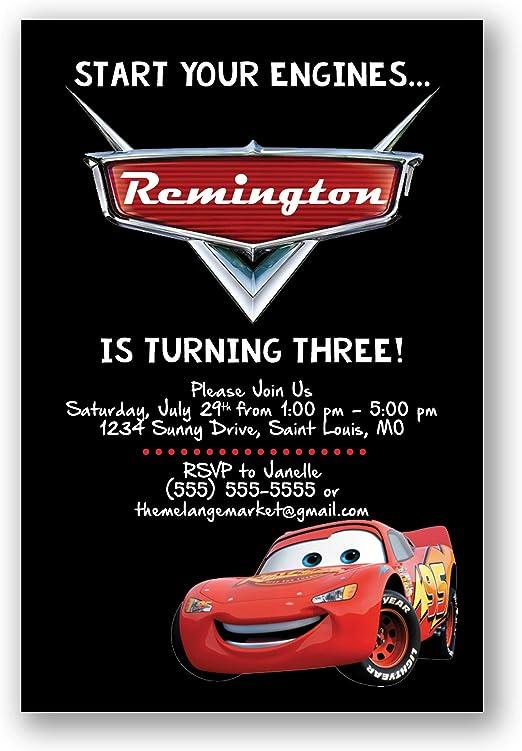 Personalised Birthday invitations Disney Cars Lightning McQueen 10 20,30,40,50