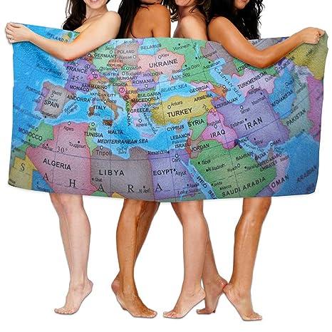LIANGTIAN - Toalla de baño, diseño de mapamundi Multicolor, Suave y súper Absorbente,