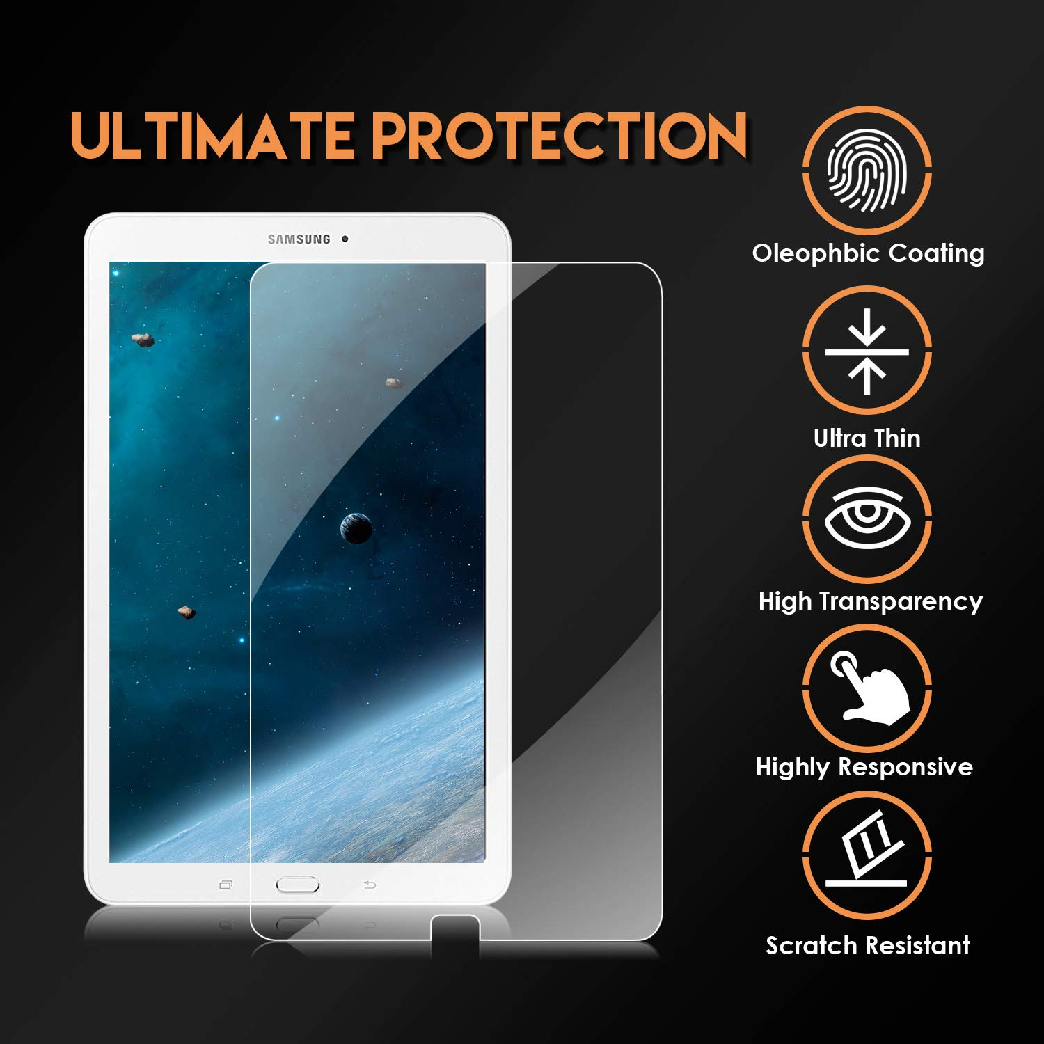 Clear High Definition Tempered Glass Film SM-T561 KATUMO Screen Protector for Samsung Galaxy Tab E 9.6 SM-T560 2 Pack