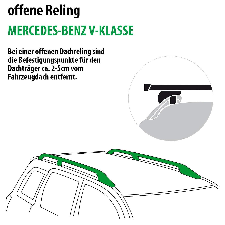 Rameder Komplettsatz 116321-11889-1 Dachtr/äger SquareBar f/ür Mercedes-Benz V-KLASSE