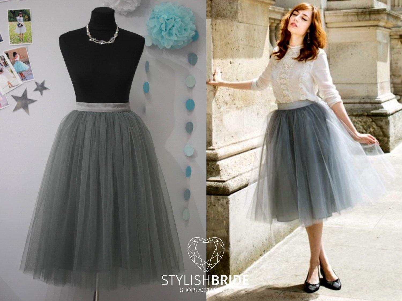 5f74960a9 Amazon.com: Slate Grey Tulle Skirt, Casual Tea length Tulle Skirt Dark Grey:  Handmade