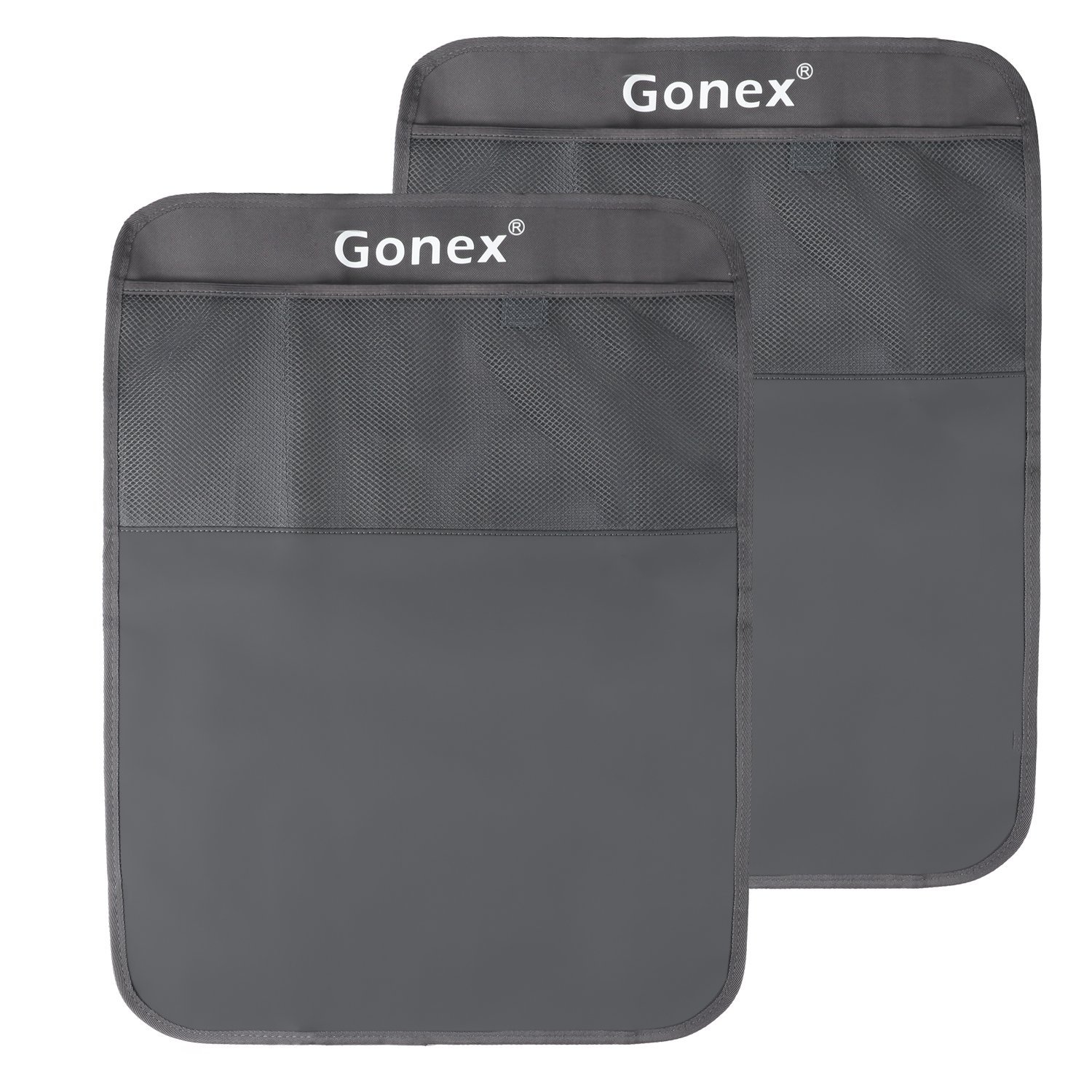 2 Packs Kick Mats for Backseat, Gonex Back Seat Protector with Organizer Waterproof PVC Material (Grey)