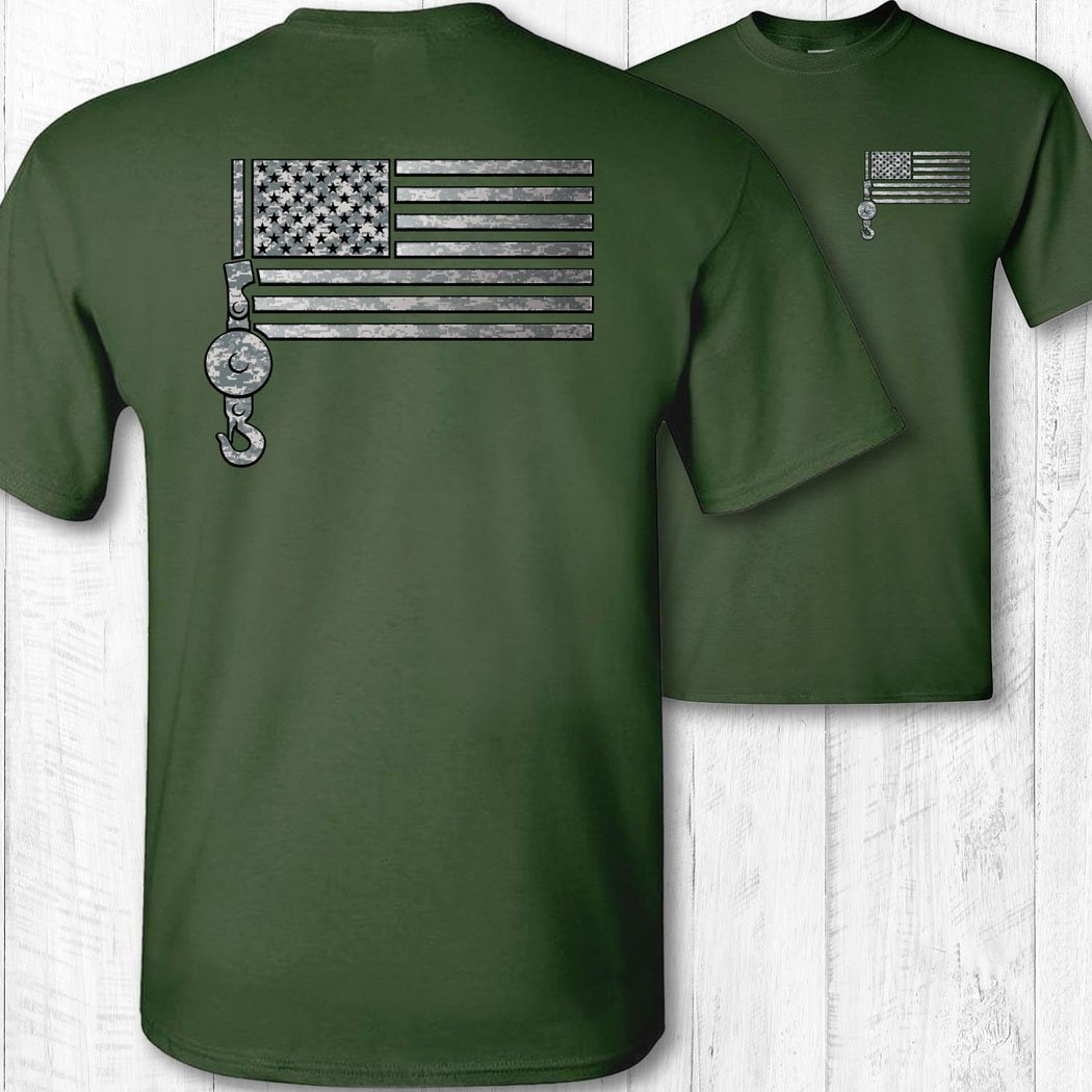 Men's American Flag Crane Operator Shirt