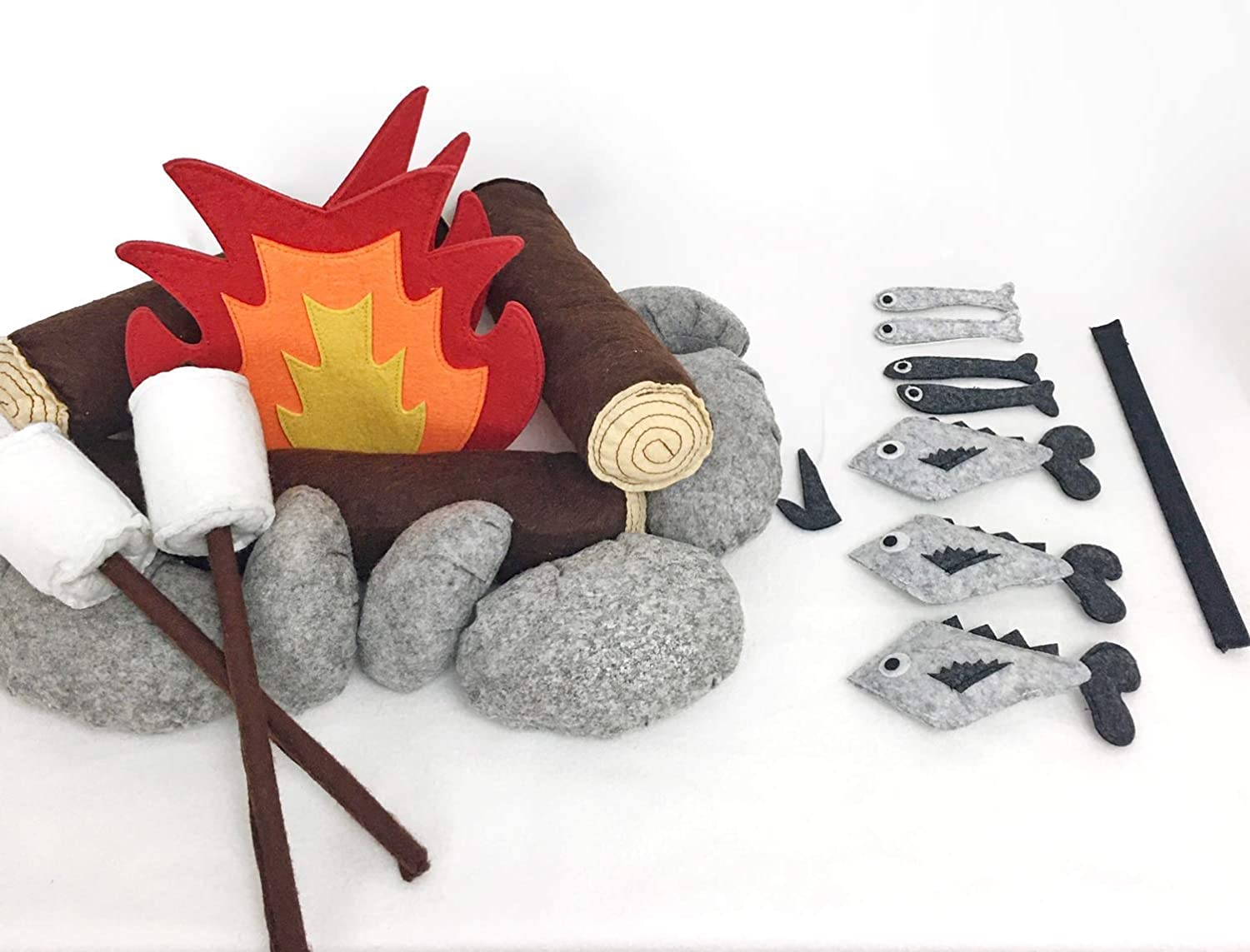 Includes 27-Piece Campfire Set /& Magnetic Fishing Set Premium Felt Material Indoor Camping Toy Bundle for Kids Domestic Objects
