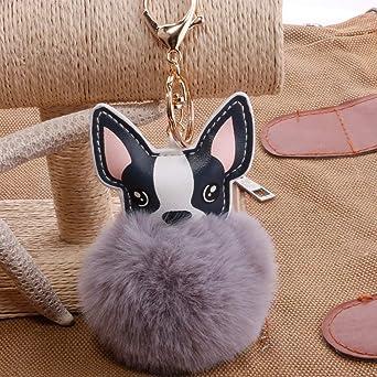 MINI Boutique Pompon Fran/çais Bouledogue Porte-cl/és Fluffy Faux Fur Ball Chien Porte-cl/és Charme En Cuir Porte-cl/és Femmes Sac Voiture Porte-cl/és