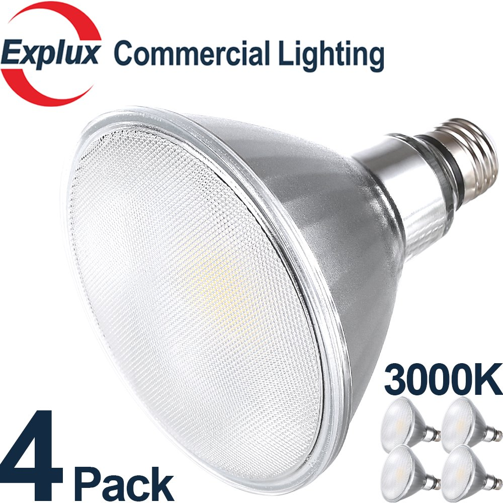 Premium Full-Glass Dimmable LED PAR38 LED Bulbs, 3000K Bright White, Weatherproof 14W (120 Watts Equivalent) LED PAR38 Light Bulbs, Flood Light, (Pack of 4)