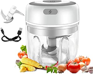 Small Food Processor,USB Portable Wireless Garlic Chopper Small Food Processor For Pepper Chili Vegetable Nuts Meat 250 ML