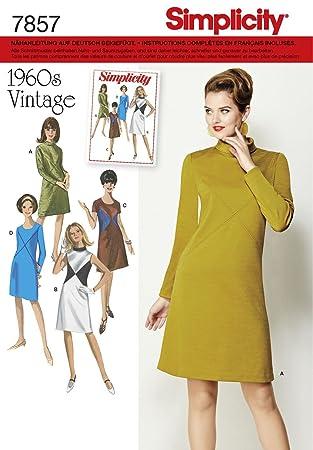 Burda Simplicity s7857. AA Schnittmuster Kleid Vintage Papier weiß ...