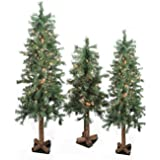 Set of 3 Pre-Lit Woodland Alpine Artificial Christmas Trees 3', 4' and 5' - Clear Lights