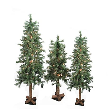set of 3 pre lit woodland alpine artificial christmas trees 3 4 - Amazon Christmas Trees
