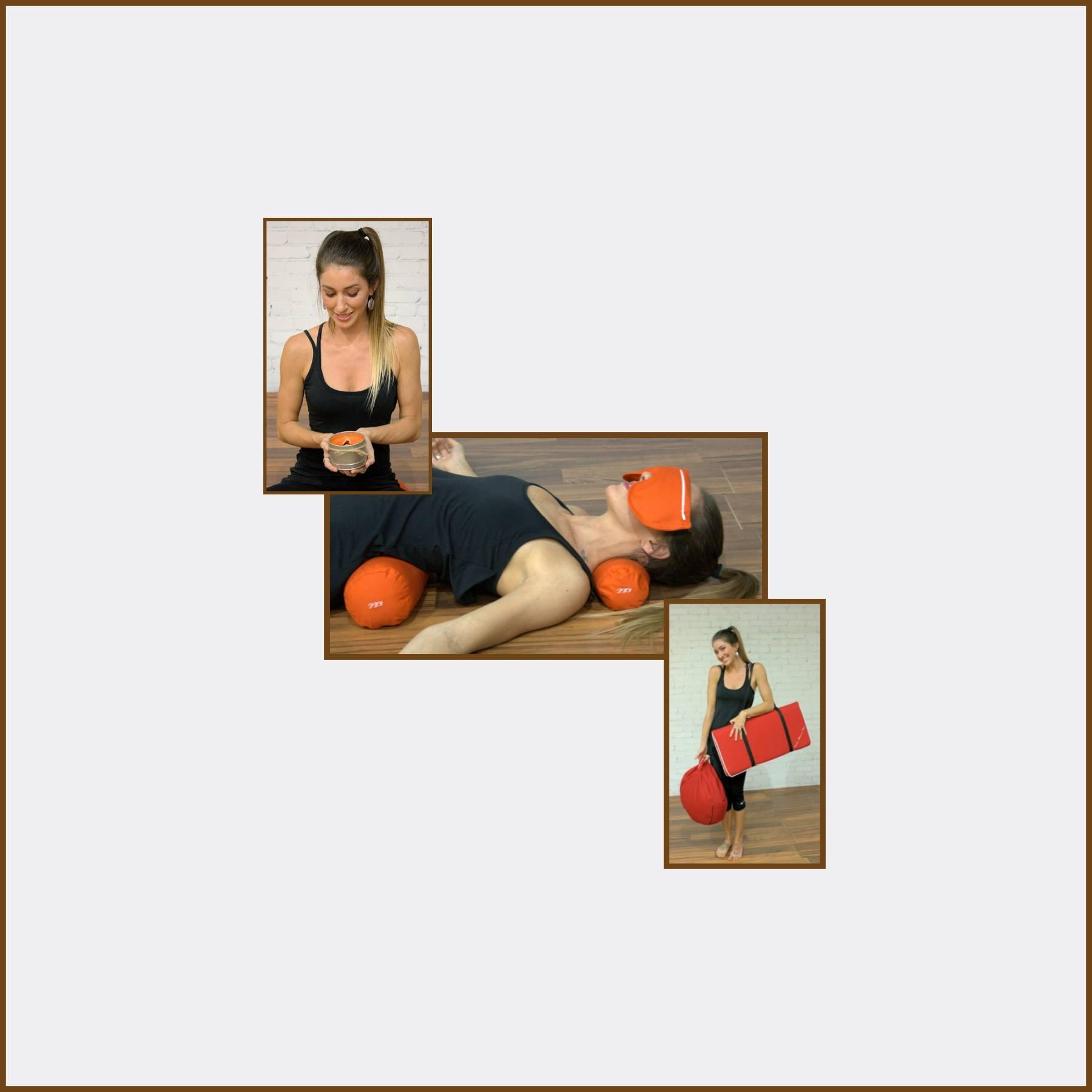 7 Piece Restorative Yoga Set -Zafu Meditation Pillow, Zabuton Cushion, Eye Pillow, Neck Bolster, Back Bolster, Soy Candle, and Strap by Peach Blossom Yoga (Image #2)