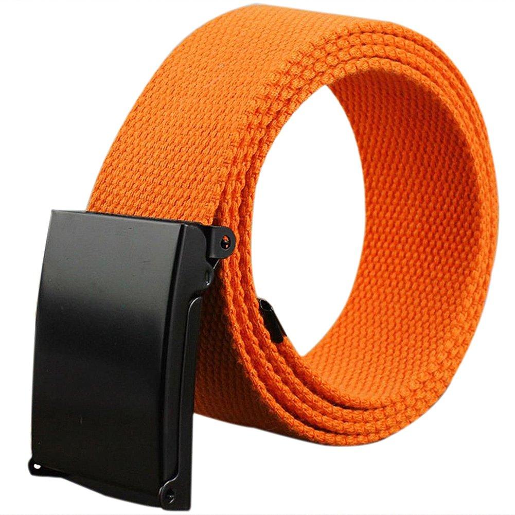 Kentop Unisex Plástico Cinturón Hombre Mujer Lienzo plástico Cinturón Deportes cinturón con automática cinturón Hebillas, Lona, Amarillo, 110×3.8cm