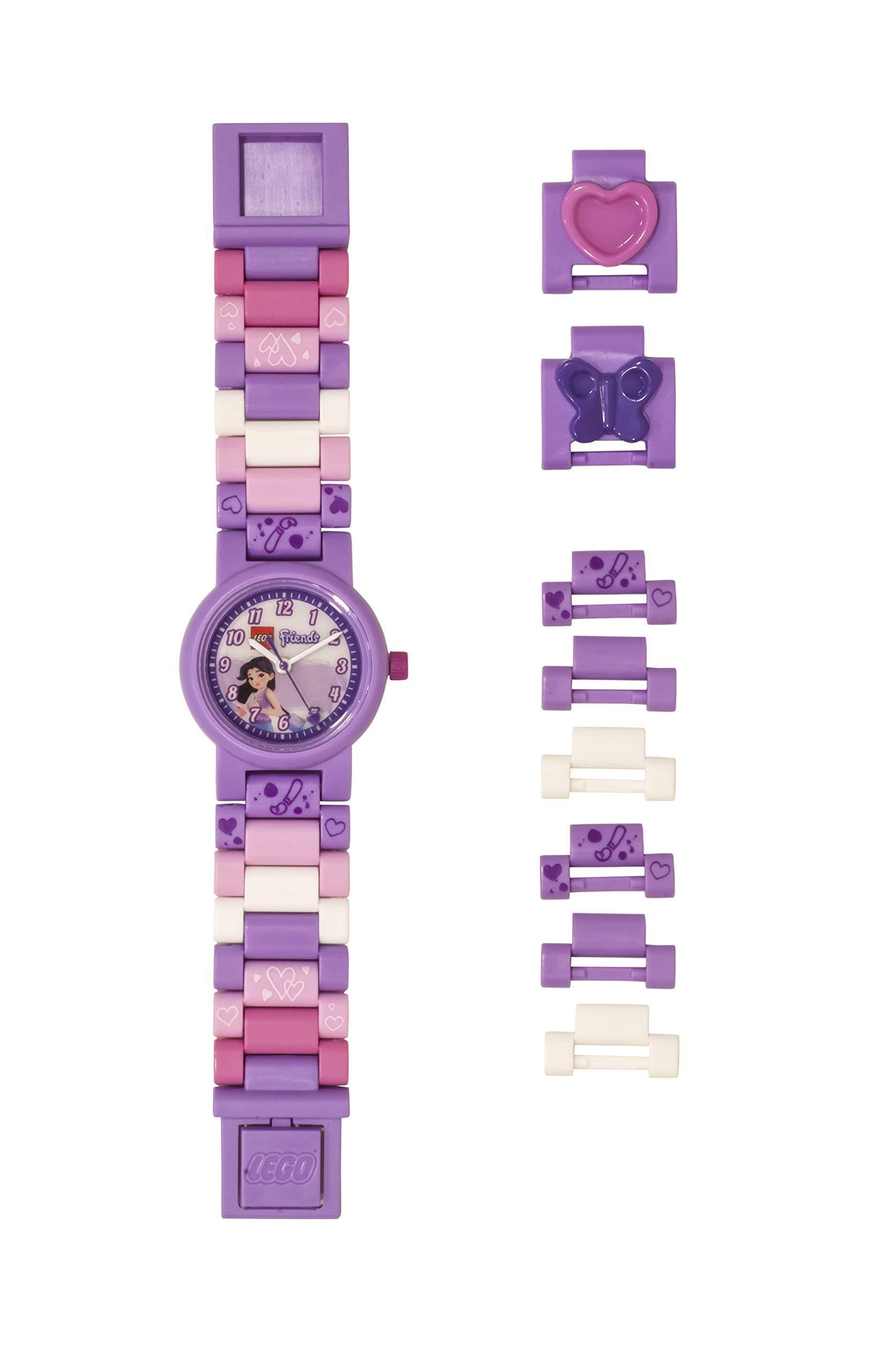 Lego Friends 8021223 Emma Kids Buildable Watch with Link Bracelet | Purple/White | Plastic | 25mm case Diameter| Analog Quartz | boy Girl | Official by ClicTime