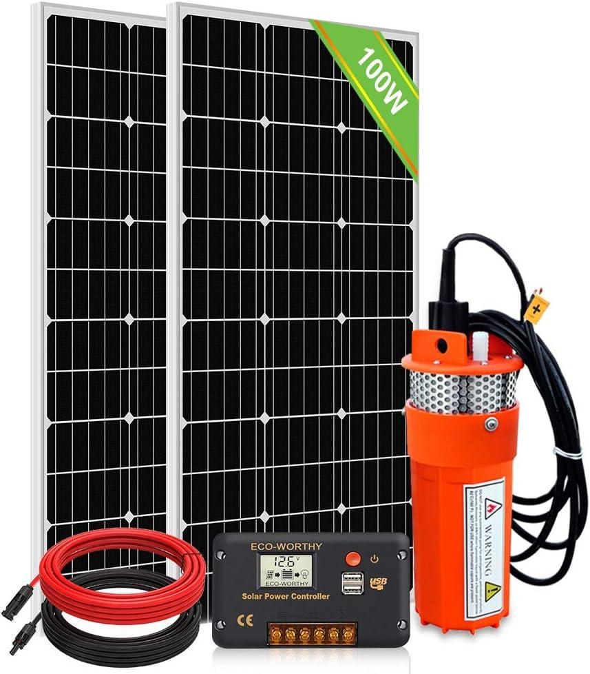 DC HOUSE - Sistema de bomba de agua solar, 2 piezas de 100 vatios Monocrystalline Solar Panel + 24 V Submersible Well Pump + Controlador de 20 A + Cable de 16 ft para Irrigation Garden Camping