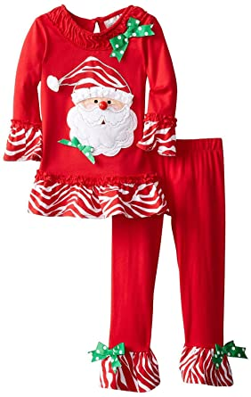 MMBeauty Girls 2pcs Long Cotton Christmas Santa Pajamas Sleepwear Set Red (2T-3T,