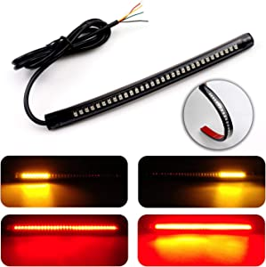 "LivTee Waterproof 8"" Motorcycle LED Light Strip Tail Brake Stop Turn Signal Lights for Motorbike Scooter Quad Cruiser Harley Kawasaki Yamaha Suzuki Off Road, Red/Amber"