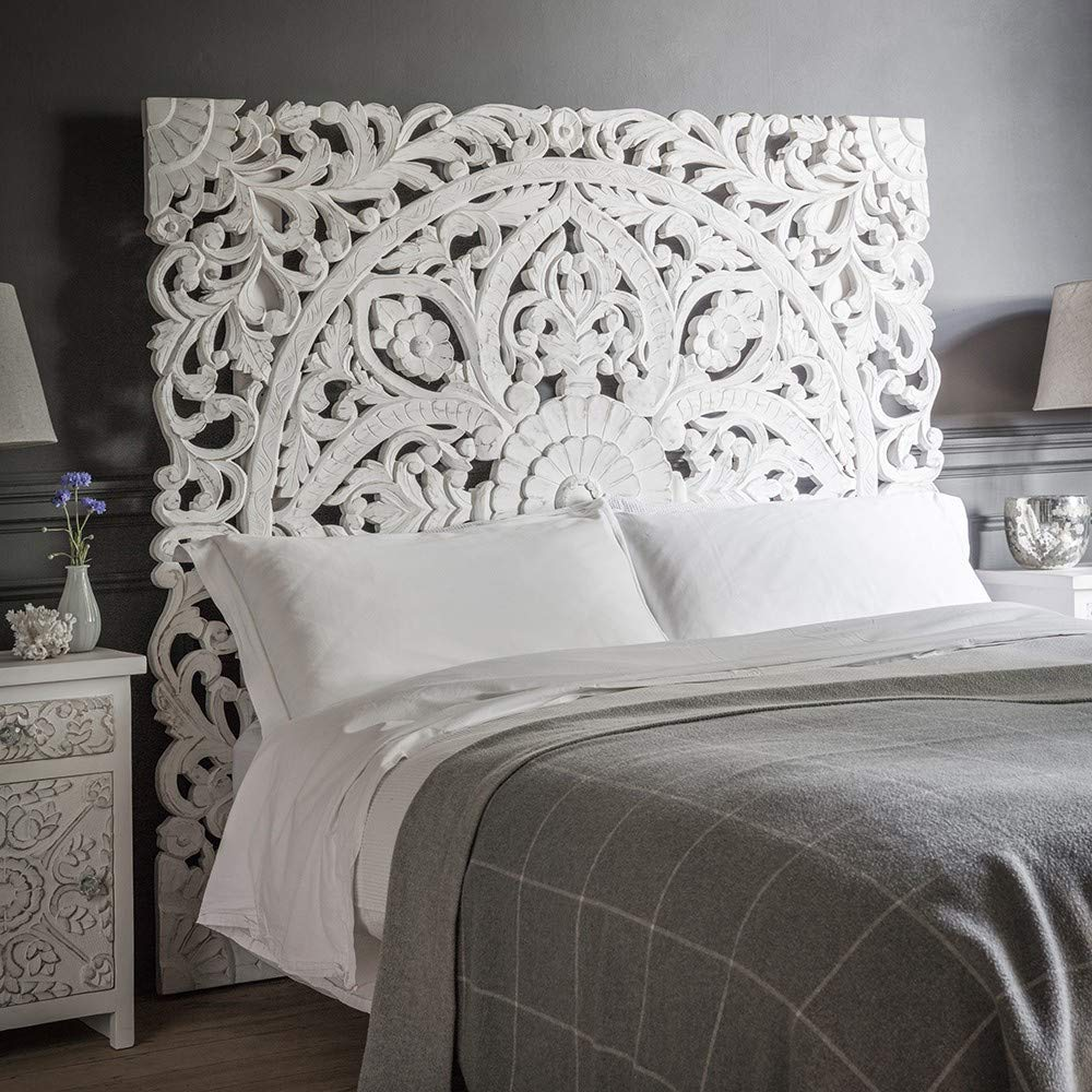 Queen Size Boho Carved Wood Bed Headboard Hand Sculpted Wall Art Hanging from Chiang Mai Thailand 60×60 Inches