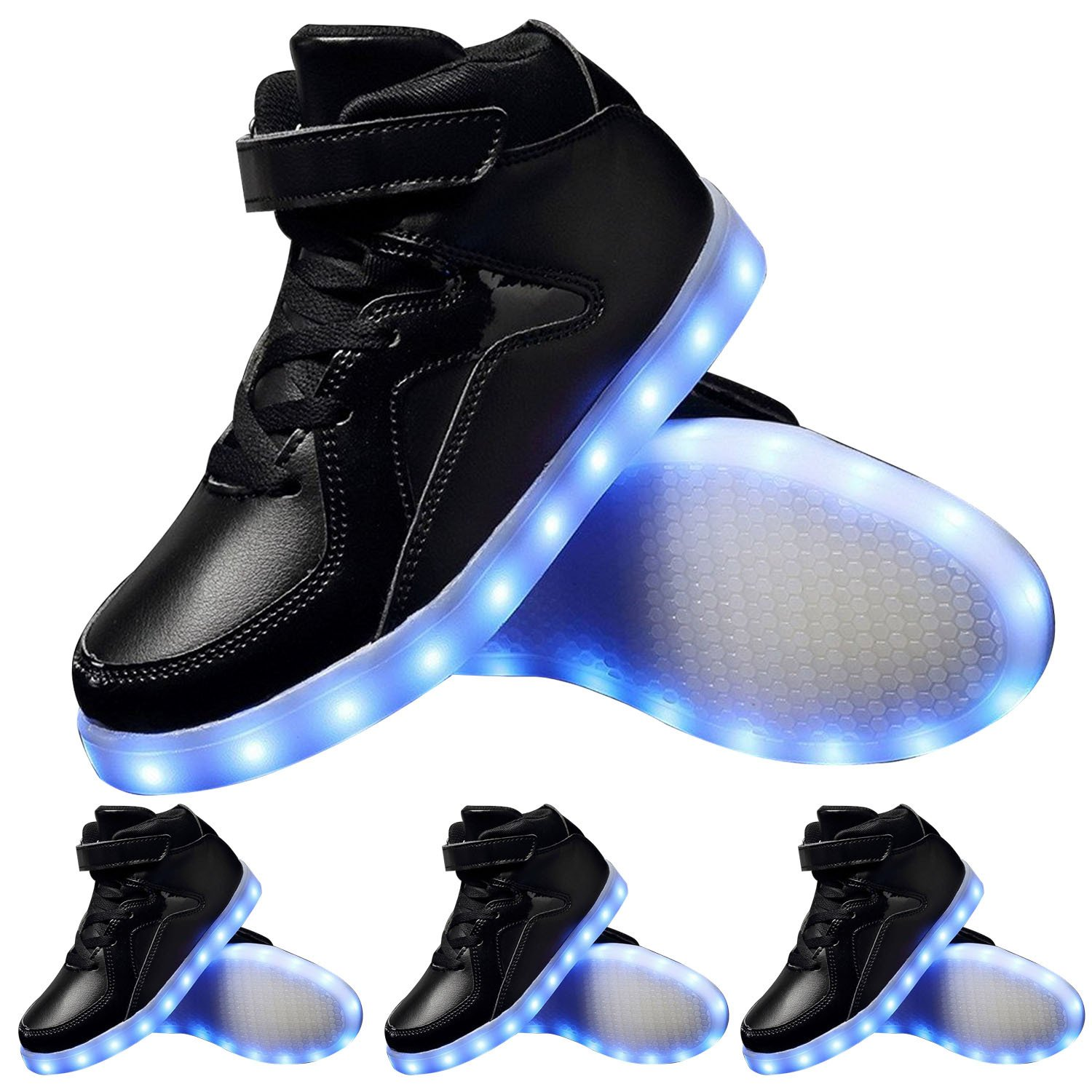 TUTUYU Kids 11 Colors LED Light Up Shoes High Top Fashion Flashing Sneakers Bright Black 39
