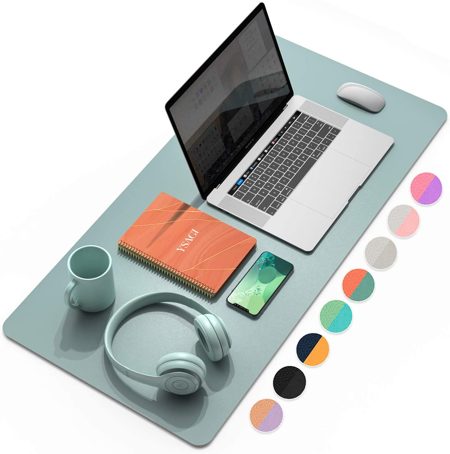"""YSAGi Multifunctional Office Desk Pad, Ultra Thin Waterproof PU Leather Mouse Pad, Dual Use Desk Writing Mat for Office/Home (31.5"""" x 15.7"""", Glaucous Green+Orange)"""