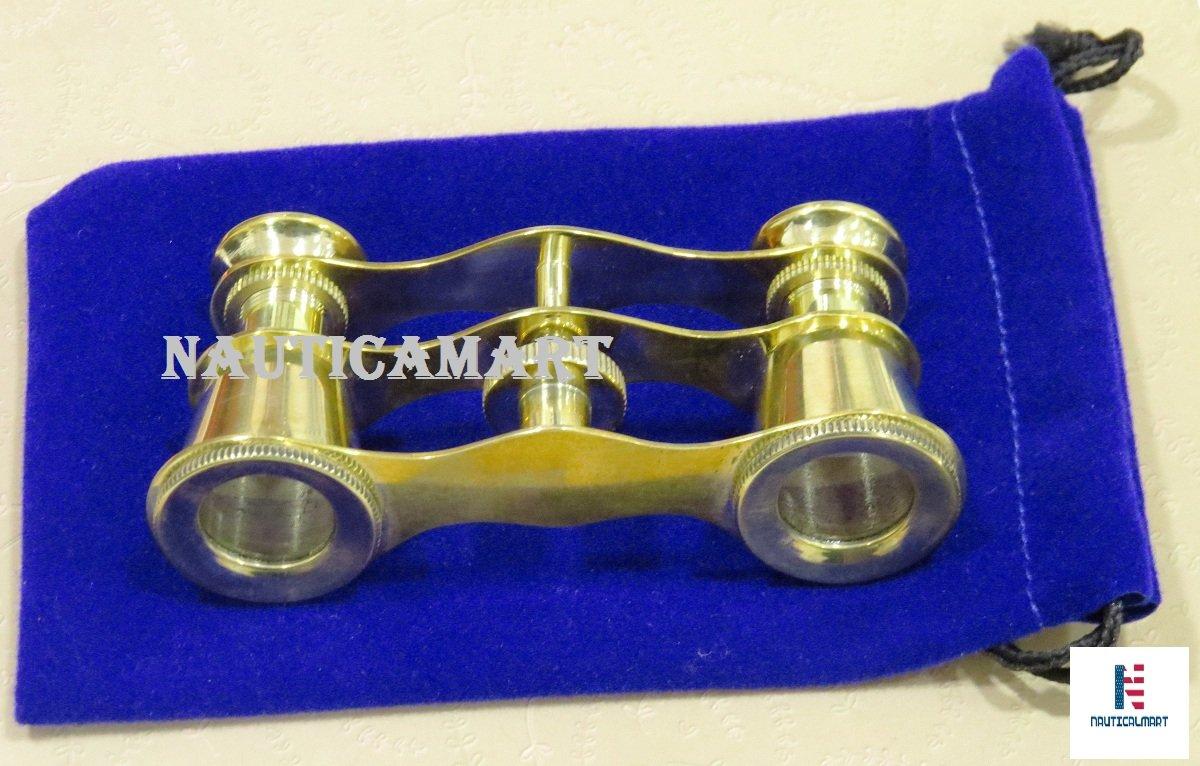 Brass Opera Glasses Theater Vintage Binoculars in Blue Case by NauticalMart