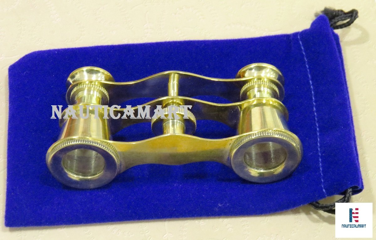 Brass Opera Glasses Theater Vintage Binoculars In Blue Case