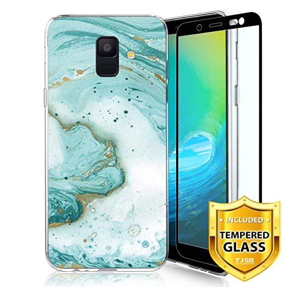 TJS Phone Case for Samsung Galaxy A6 2018, with [Full Coverage Tempered Glass Screen Protector] Ultra Thin Slim TPU Matte Color Marble Transparent ...