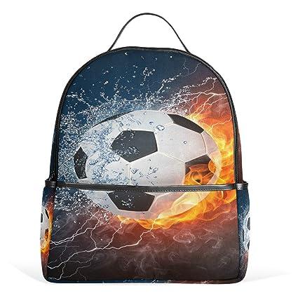 Mochila de balón de fútbol en el fuego y el agua para estudiantes ...