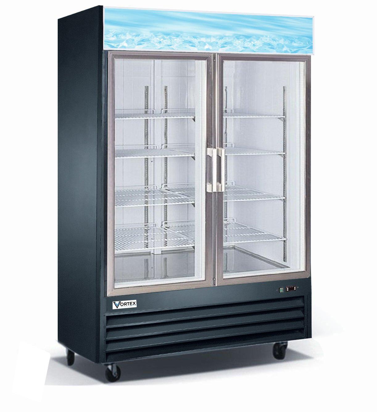 Vortex Refrigeration Commercial 2 Glass Door Black Merchandiser Refrigerator - 45 Cu. Ft.