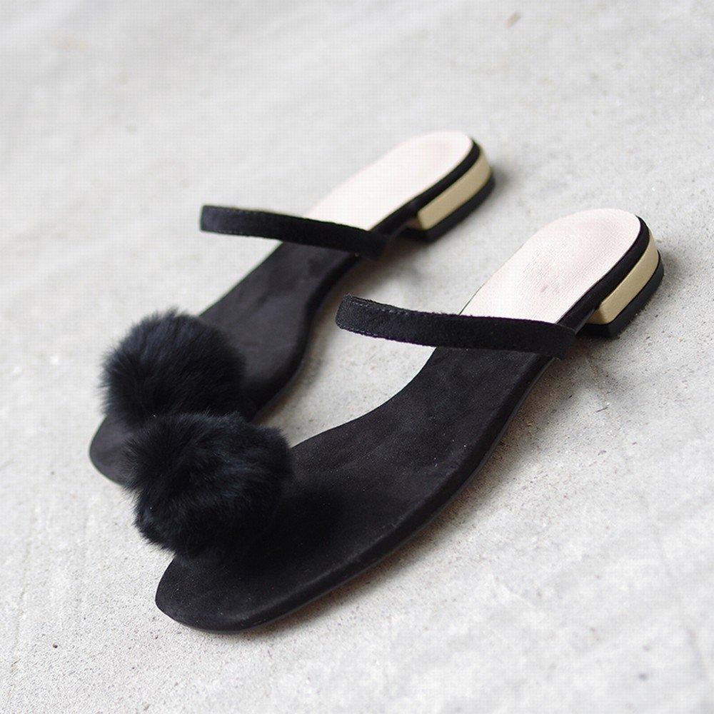 - DHG Mode Usure Chaussures Plates Orteil Femme Sauvage Paresseux Sandales,Noir,35