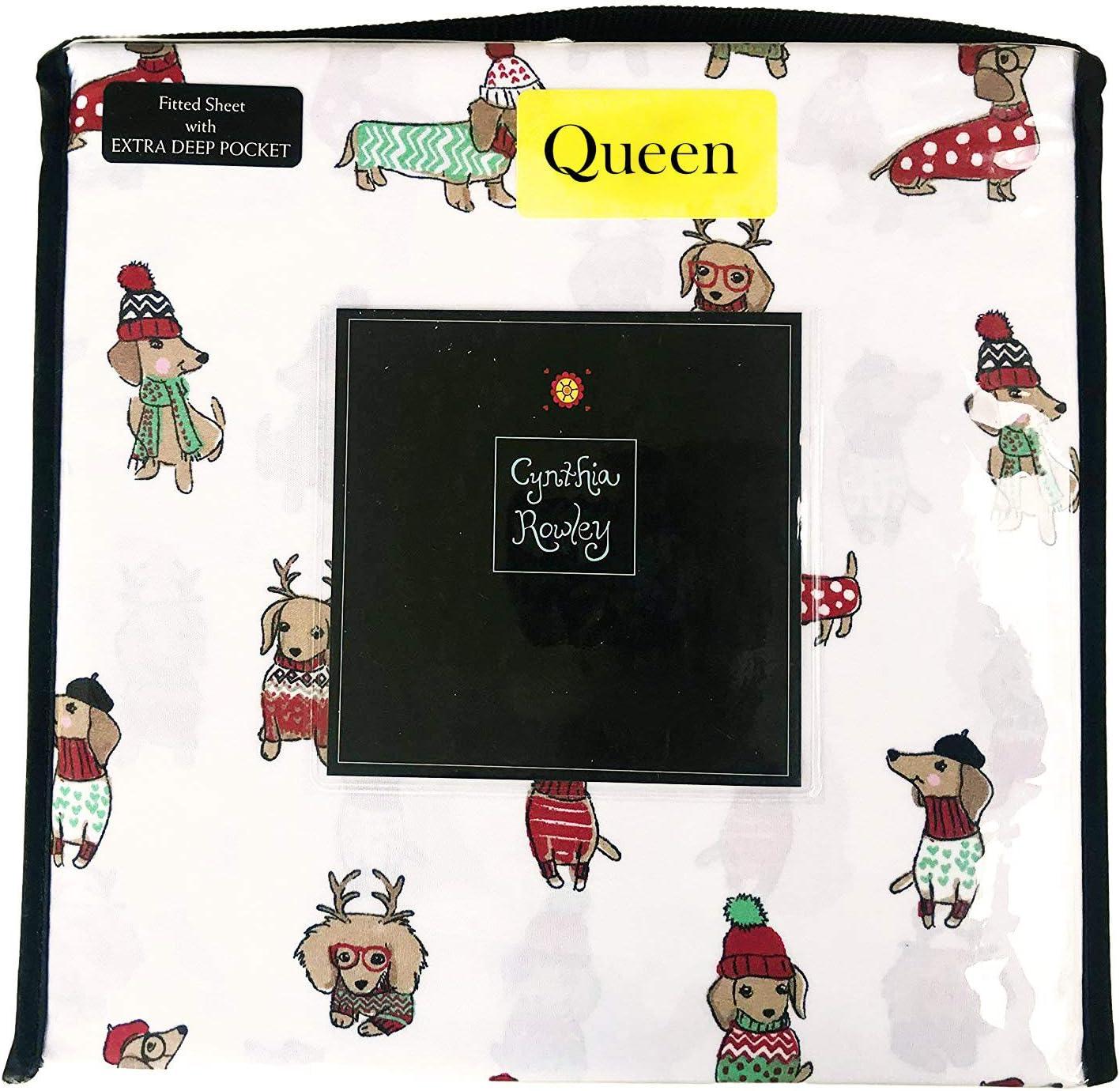 Cynthia Rowley Festive Dachshund Winner Dogs Dressed in Winter Attire Christmas Holiday Sheet Set (Queen)