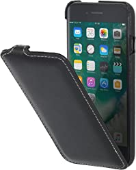 StilGut UltraSlim, Housse iPhone 8 Plus & iPhone 7 Plus en Cuir. Etui de Protection à Ouverture Verticale et Fermeture clipsée en Cuir véritable
