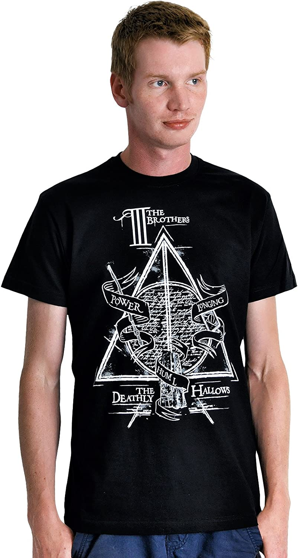 Nero Cotone T-shirt con motivo della fiaba dei tre fratelli Peverell Harry Potter