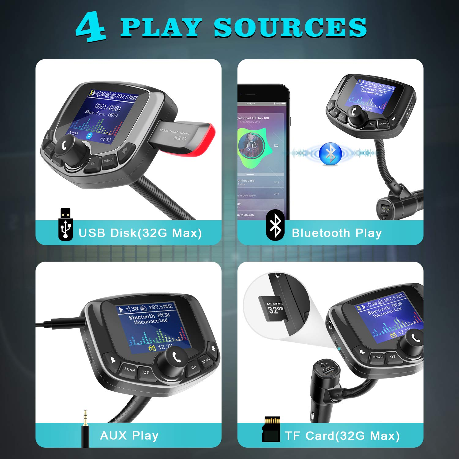 4 Music Play Hands-Free Calls ZEEPORTE Bluetooth FM Transmitter for Car TF Card 1.8 Color Screen Wireless Bluetooth FM Radio Adapter Type-C PD 27W Quick Charger with 5 EQ Mode AUX 3 USB Ports