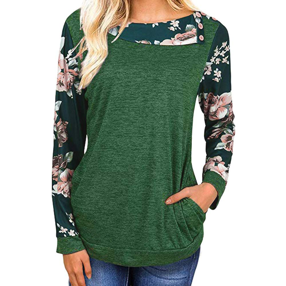 Clearance Womens Tops - WEUIE Women Casual Floral Print Long Sleeve Pullover Blouse Shirts Sweatshirt(L, Green)