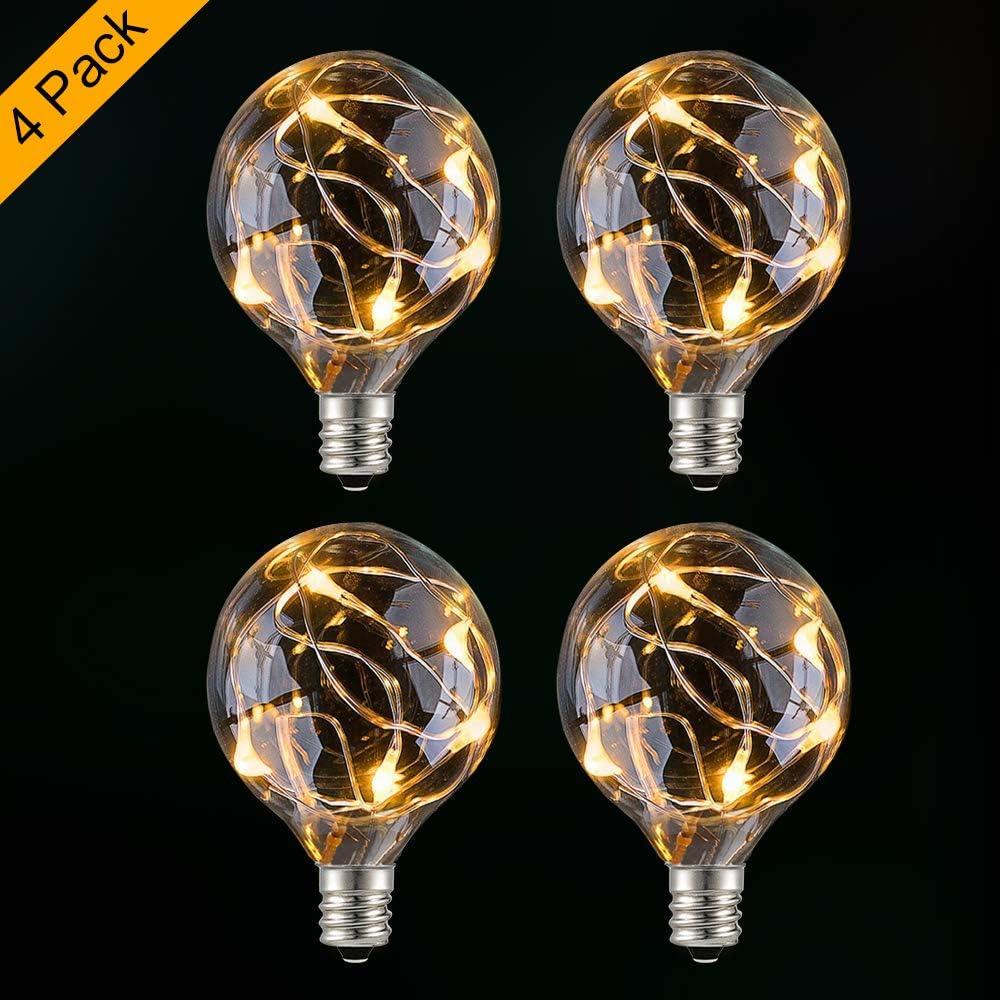 G40 Bombillas de LED,GlobaLink 4 Pack para Guirnalda Luces Exterior Cadena de Luz IP65 Impermeable 3V-4.5V 0.1W para Fiesta Navidad Boda Jardín Patio-Blanco Cálido(Clase de eficiencia energética A+++): Amazon.es: Iluminación
