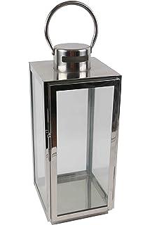 Set of 3 Lanterns Lantern with Metal frame in silver, high gloss ...