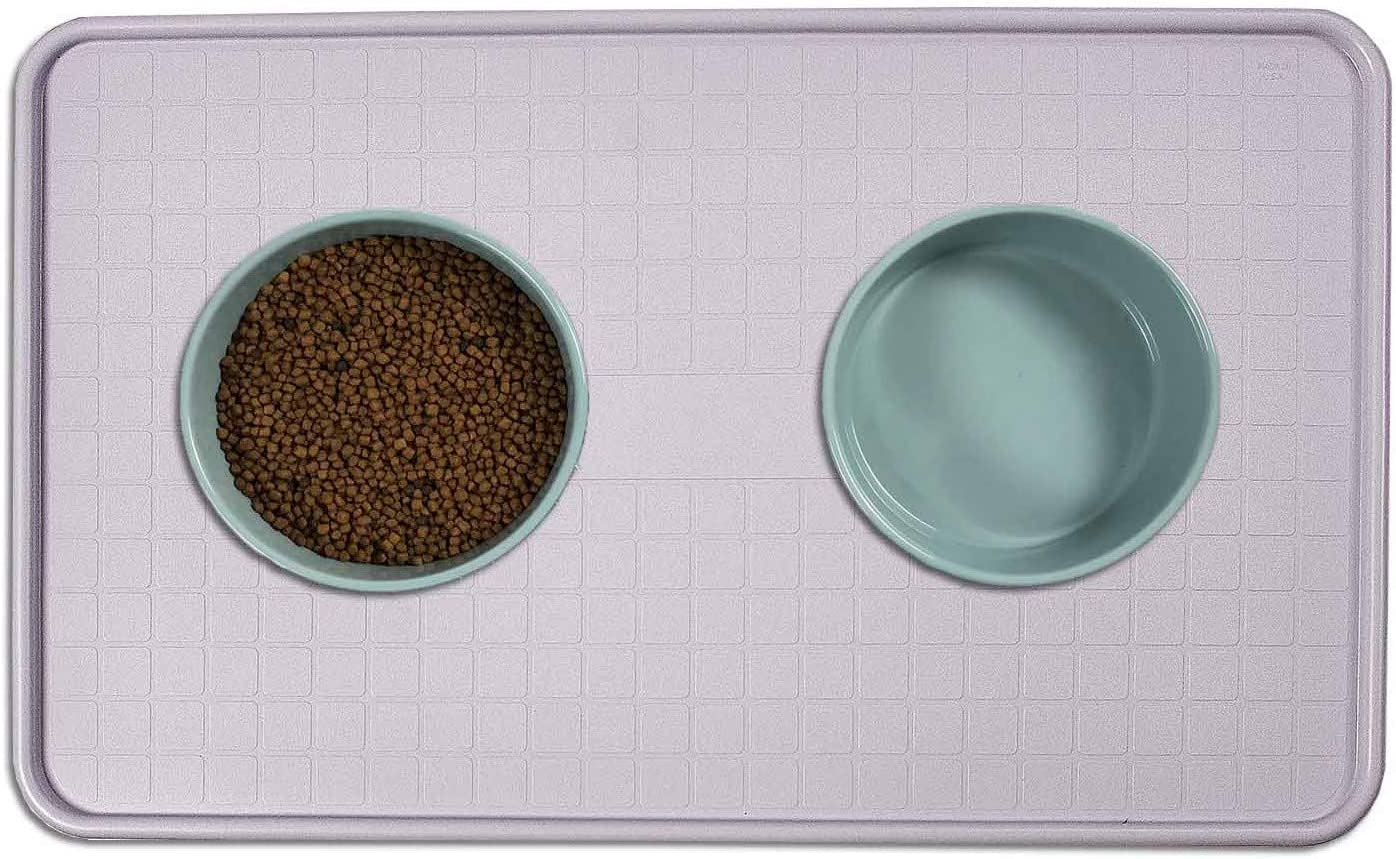 Resilia Pet Food Mat and Boot Tray - Lipped edge to contain spills, Gray, 17 inches x 28 inches
