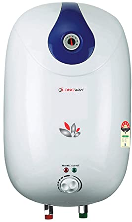 LONGWAY HOT Spring 25LTR 5 Star Storage Water Heater Geyser WT AVS Technology, Temperature Meter, ABS Plastic Body, HD ISI Element & Capsule Type 304L SS Tank 24 Month Warranty (White & Blue)