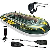 Intex Seahawk 4 Inflatable Boat Set + Oars/Pump/Motor Mount | 68351E+ 68624E
