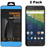 Nexus 6P Screen Protector,AMZSTAR [2-Pack] Rounded Edge 9H Hardness Tempered Glass Screen Protector Guard Film or Huawei Google Nexus 6P 2015 - Lifetime Replacement Warranty (Clear)