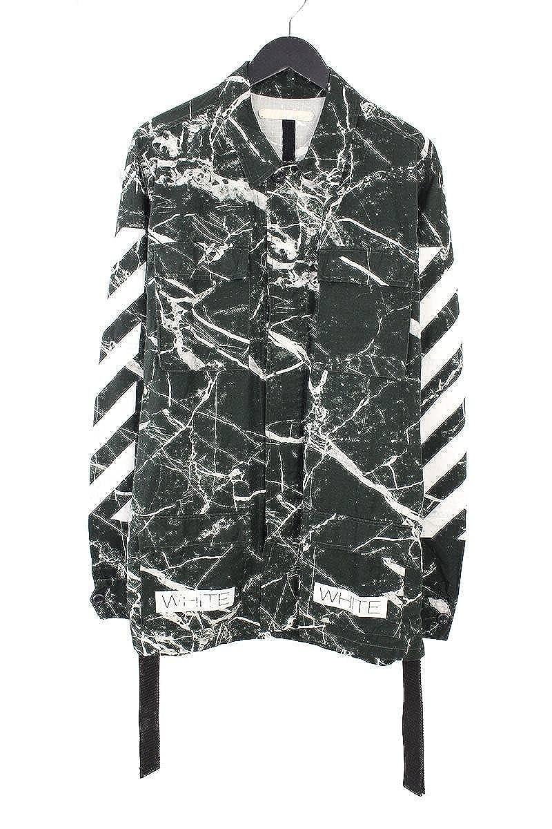 (オフホワイト) OFF-WHITE 【16SS】【Sahariana Marble Jacket】マーブル総柄バイアスプリントフィールドジャケット(M/ブラック) 中古 B07FVHDL1K