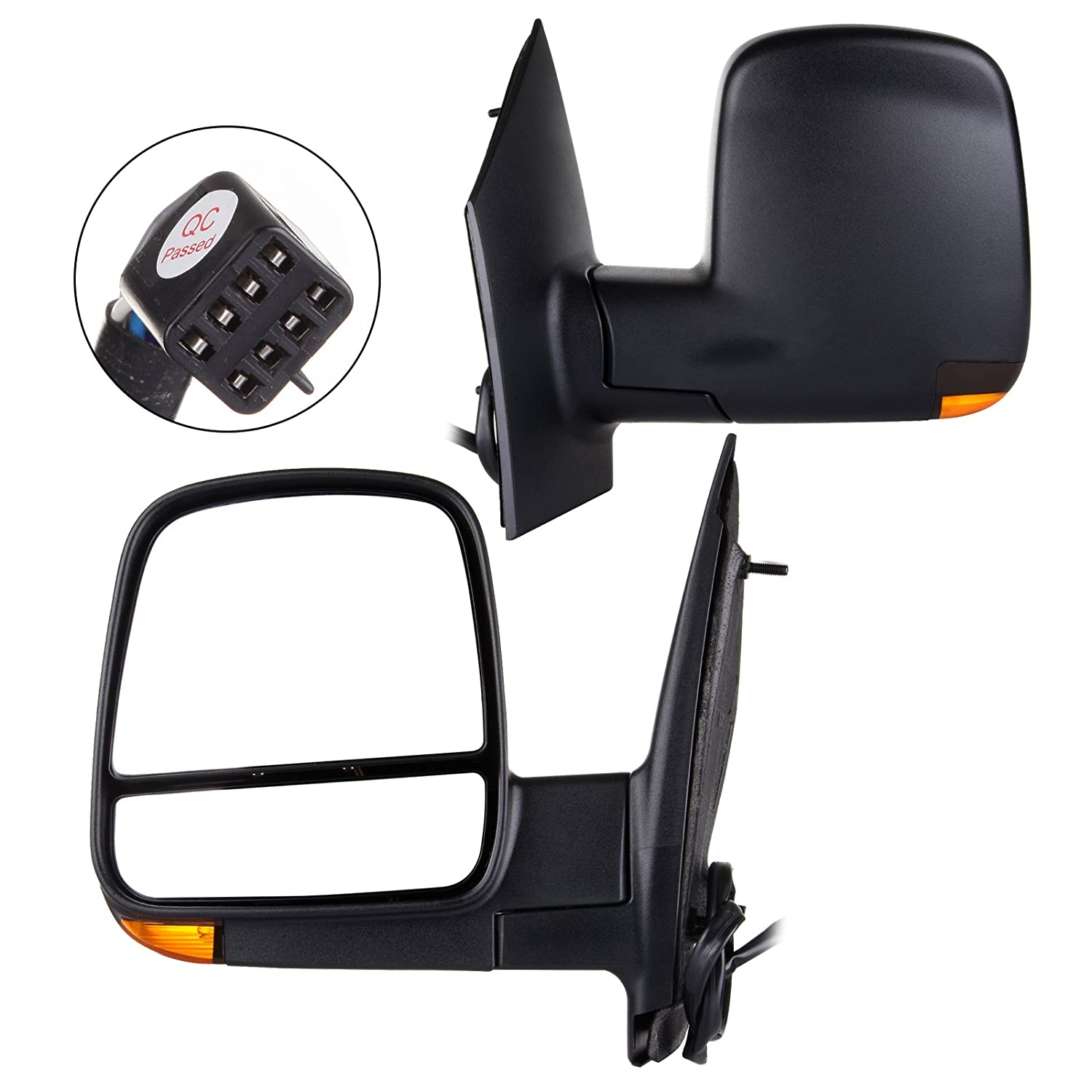 SCITOO fit 2008-2017 Express Savana Van Right Door Power Passenger Side View Mirror Heated Signal Dual Glass