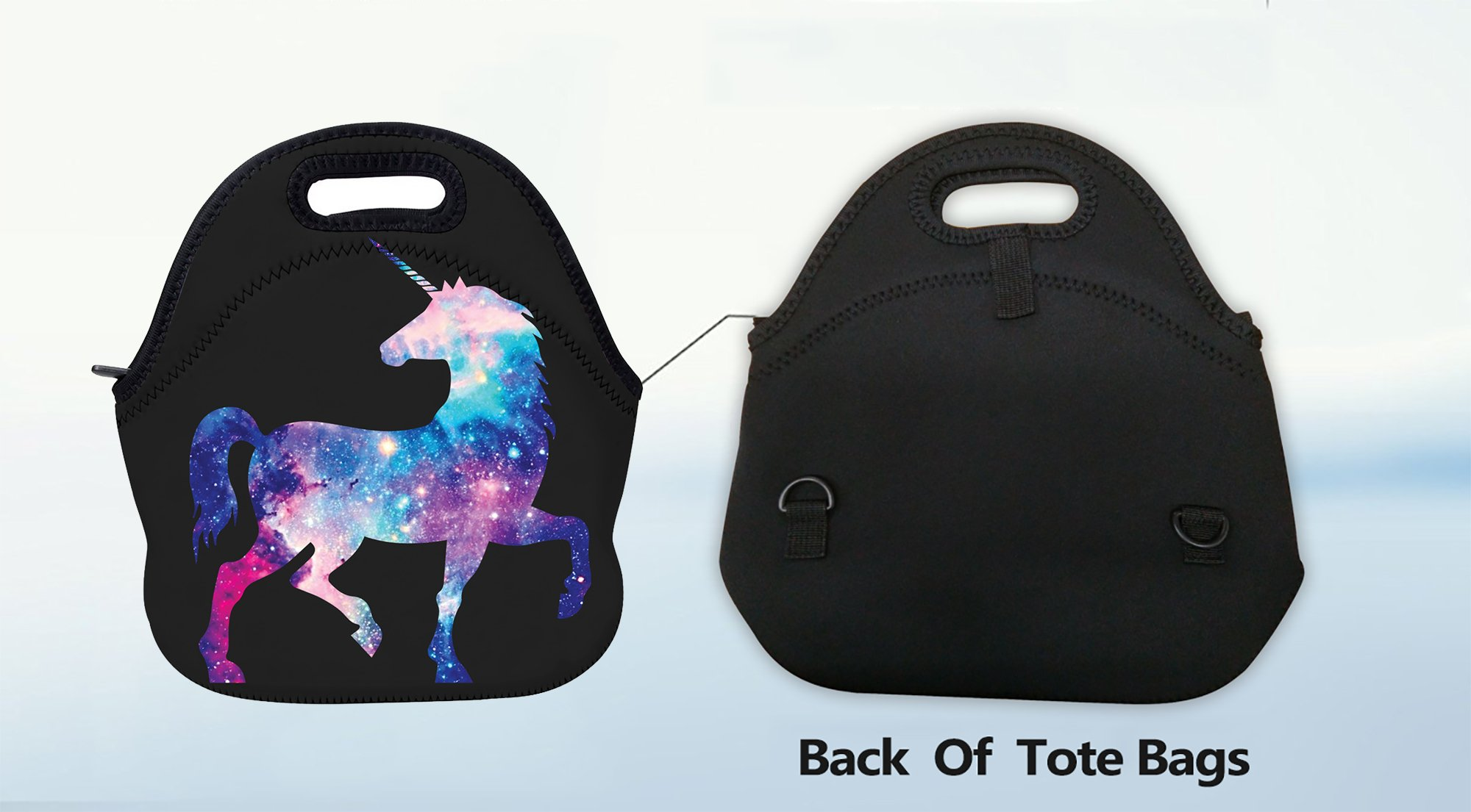 AOTIGO Unicorn Horse Galaxy Space Neoprene Lunch Bag Insulated Lunch Box Waterproof Lunch Tote Bag with Zipper for Women… 8