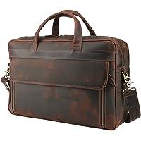 Polare Men's Full Grain Leather Professional 17'' Briefcase Shoulder Messenger Business Bag