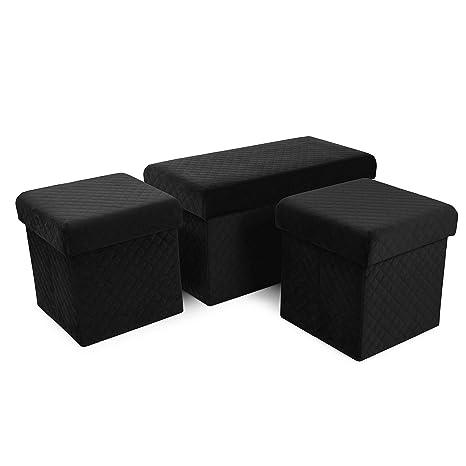 Round Velvet Pouffe Stool Ottoman Side Table Upholstered Footstool Rest Seat UK