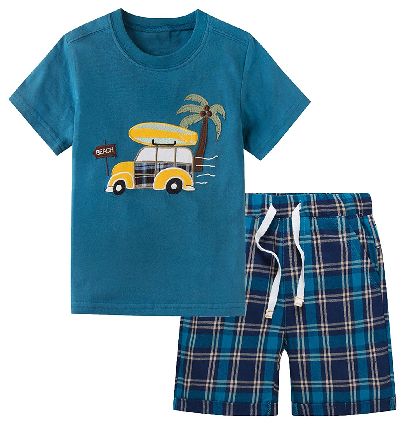 Little Boys' Cotton Clothing Short Sets Summer Cotton Shirts Pants Toddler Clothes