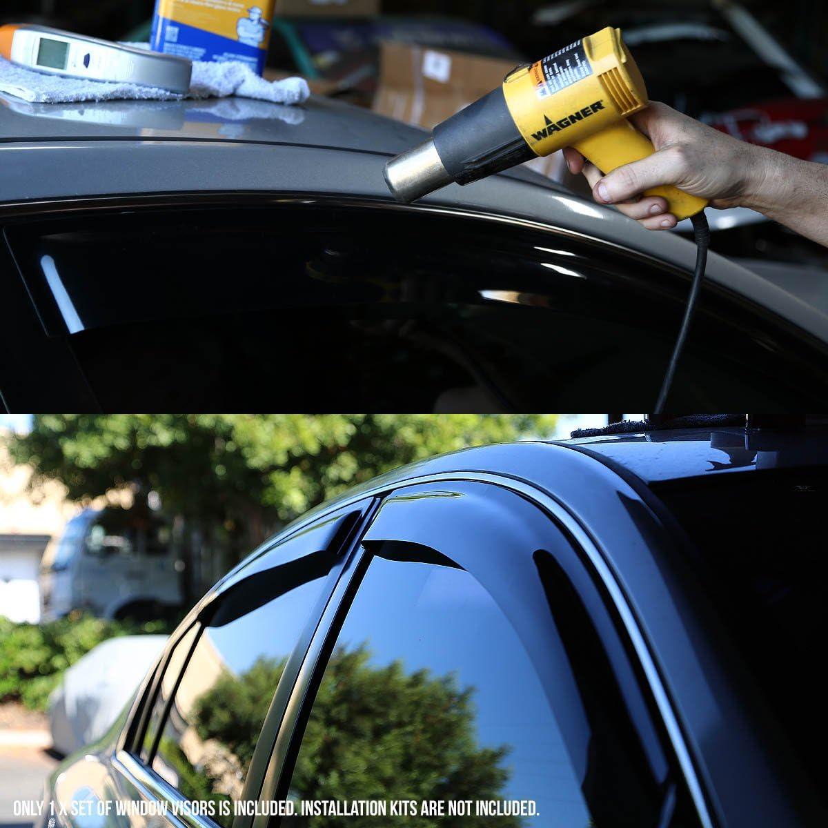 4pcs DNA MOTORING WVS-124 Dark Smoke Vent Window Visor Deflector Rain//Sun Guard